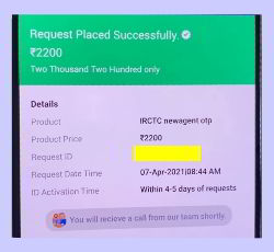 irctc ajent id submitede